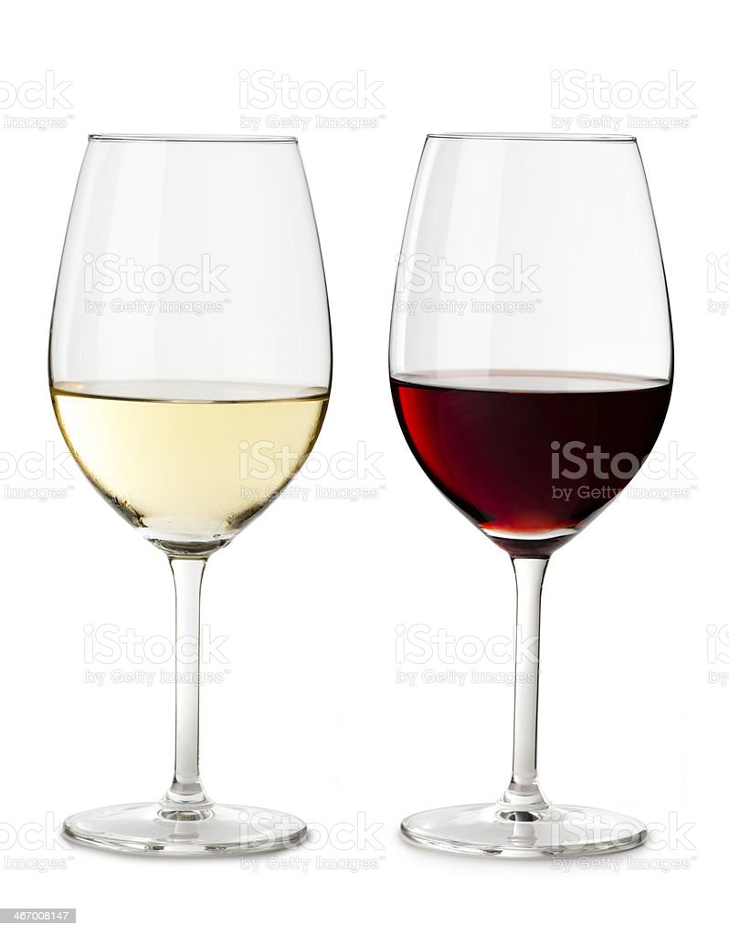 Red and White Wine Glass Isolated on White Background stock photo