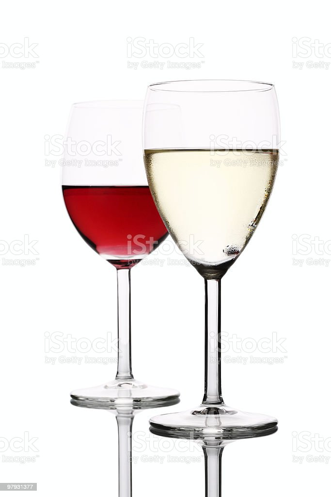 Red and White Wine  in Glass royalty-free stock photo