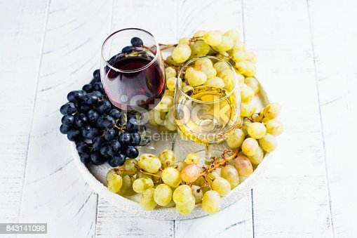 924487256 istock photo Red and white wine in glasses with grapes 843141098