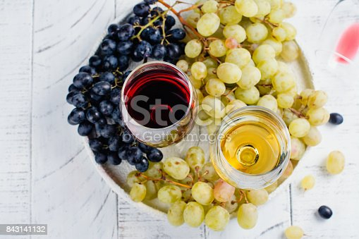 924487256 istock photo Red and white wine in glasses with grapes 843141132
