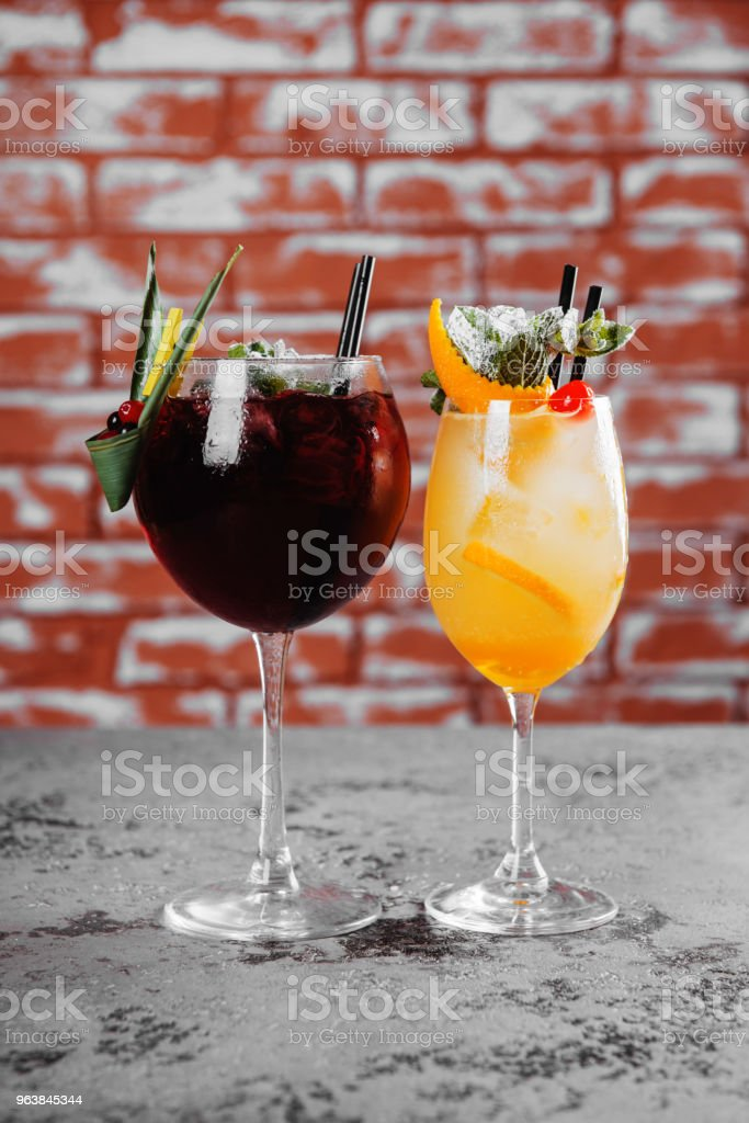 Red and white wine sangria with ice. - Royalty-free Alcohol Stock Photo
