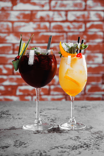Red And White Wine Sangria With Ice Stock Photo - Download Image Now