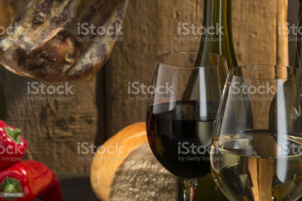 Red and white wine , Spanish style royalty-free stock photo