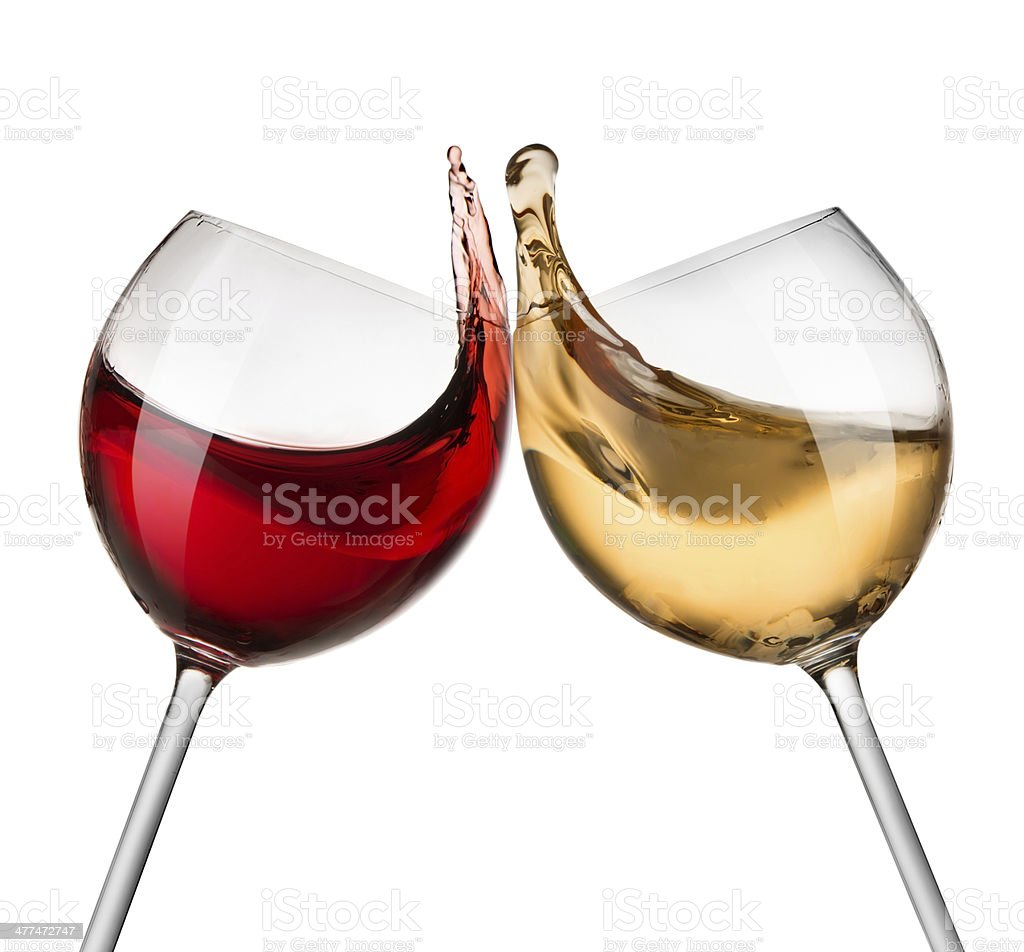 Red and white wine waves stock photo