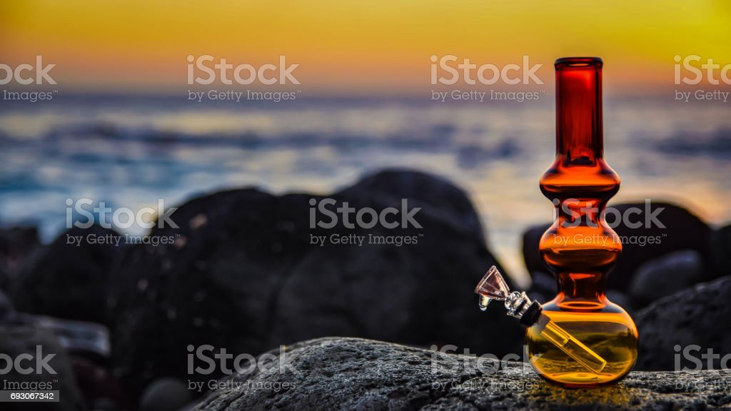 Red and yellow beach bong stock photo