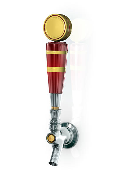 Red and yellow beer tap on white background stock photo