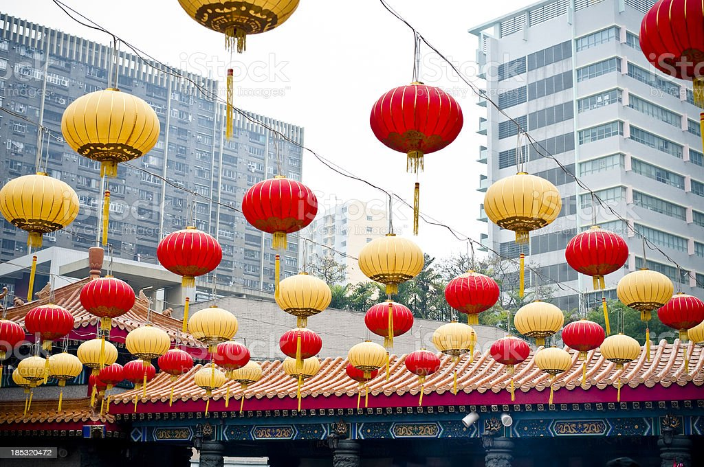 Red and Yellow Chinese Lanterns royalty-free stock photo