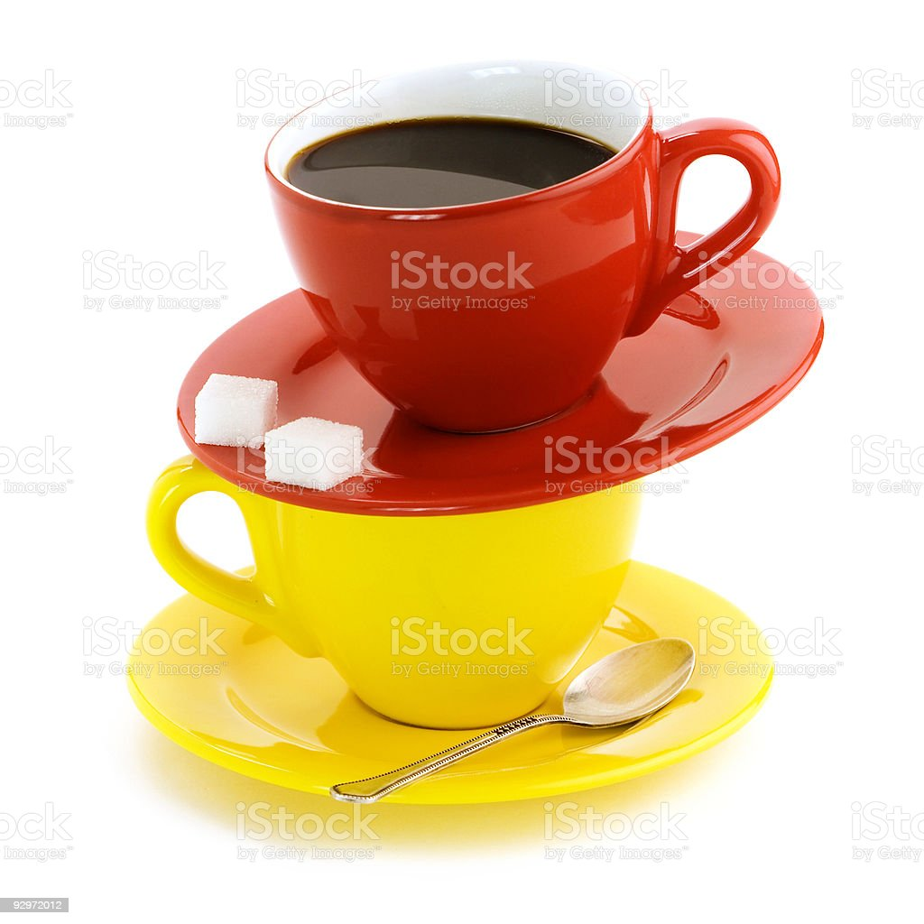 Red and yellow cups royalty-free stock photo