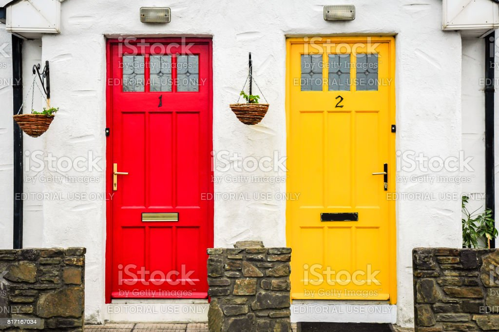 Red and yellow door stock photo