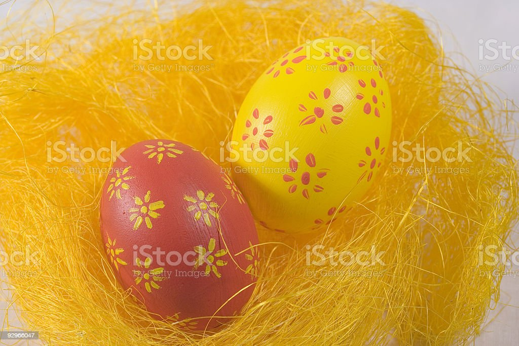 Red and yellow eastereggs royalty-free stock photo