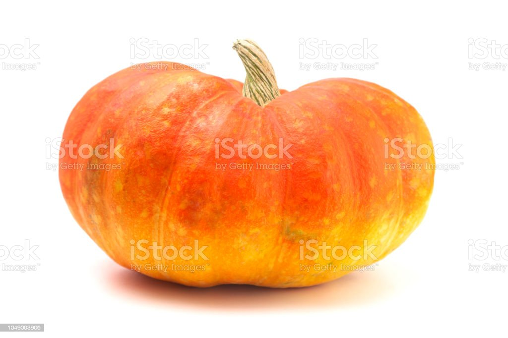 Red and Yellow Fairytale Pumpkin on a White Background