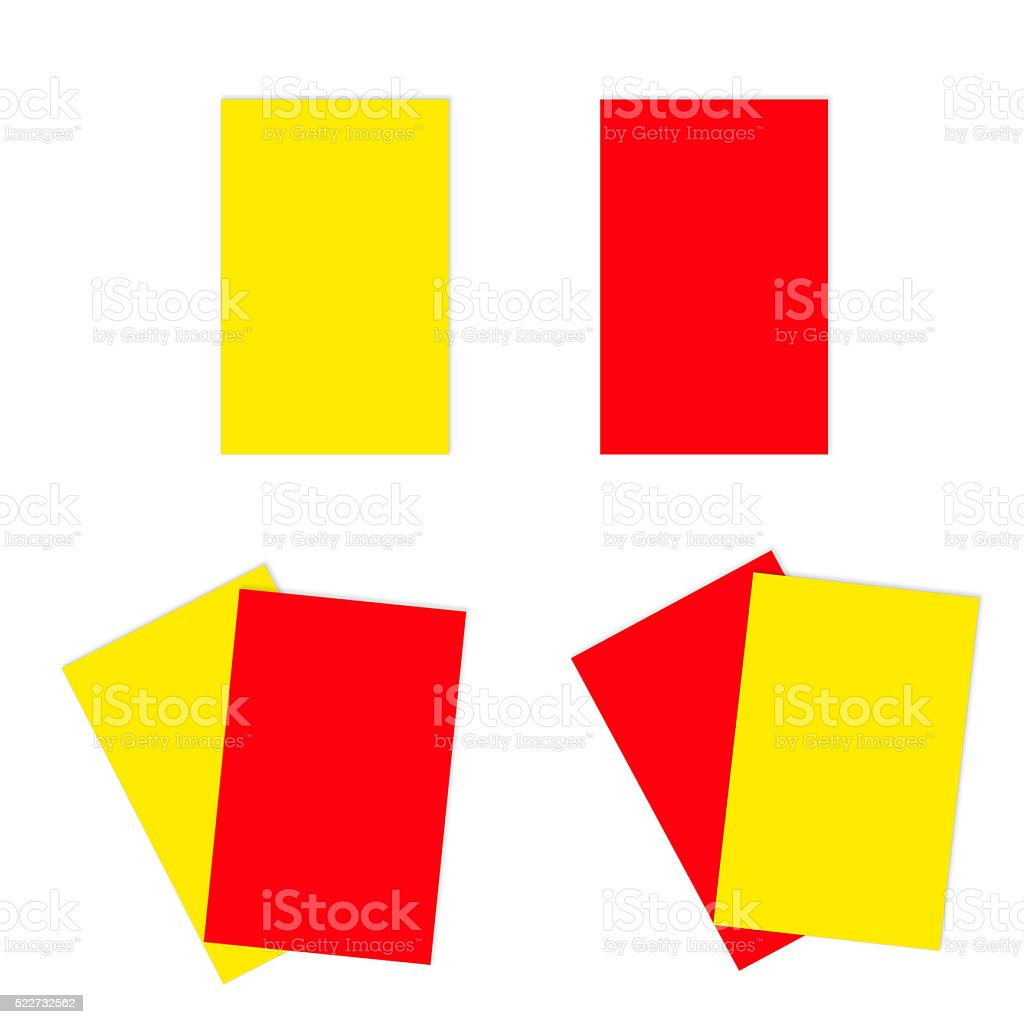 Red and yellow football soccer cards stock photo