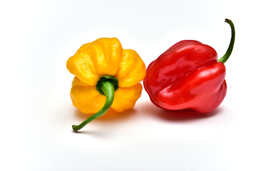 Habanero peppers on white with shadow