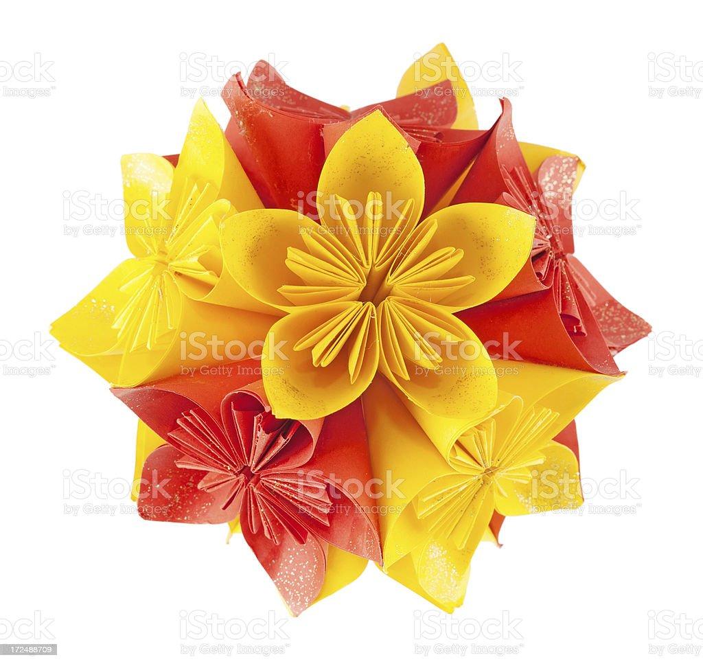 Red and yellow kusudama royalty-free stock photo