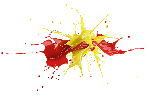 istock Red and yellow paint splash explosion, splashing against each other. 1093730474