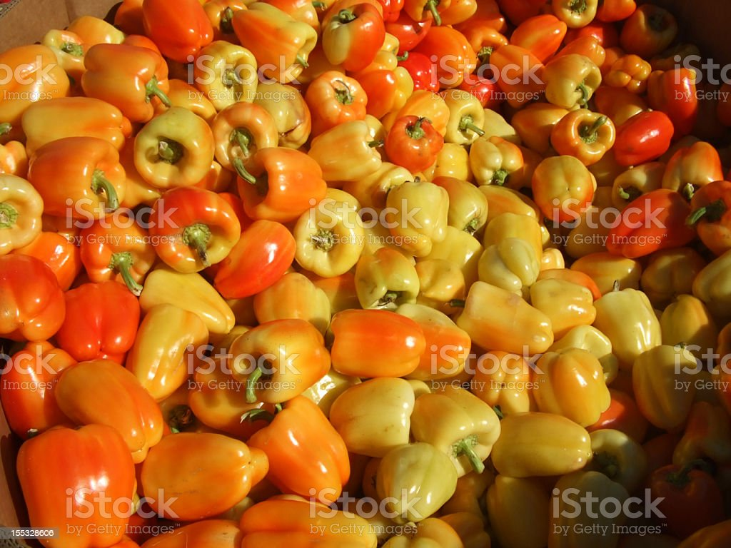 Red and yellow peppers at the market royalty-free stock photo
