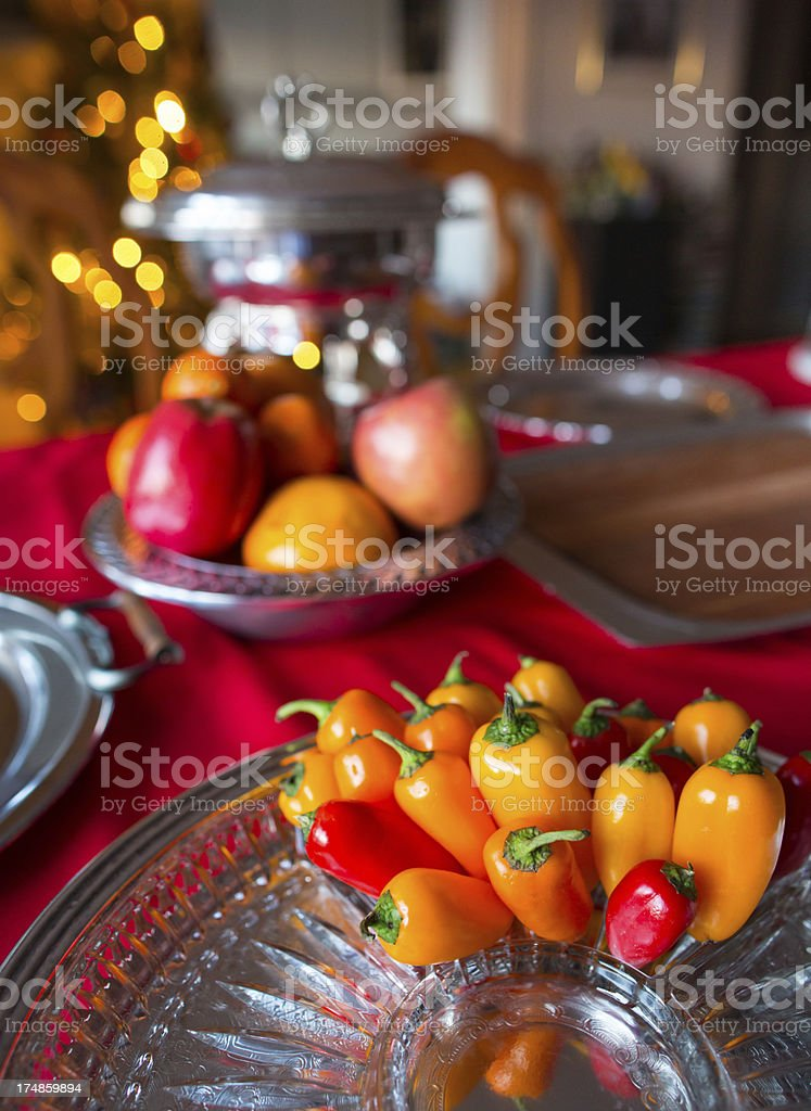Red and yellow peppers royalty-free stock photo