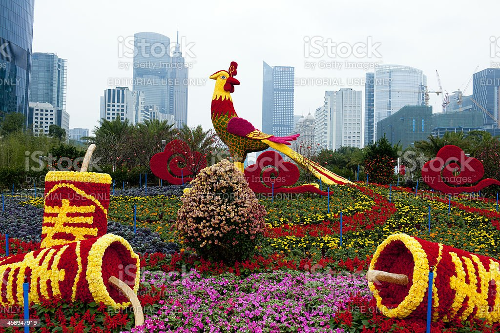 Red and Yellow Rooster in Guangzhou China royalty-free stock photo