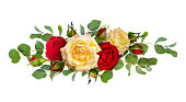 istock Red and yellow rose flowers with eucalyptus leaves in a line arrangement 924716756