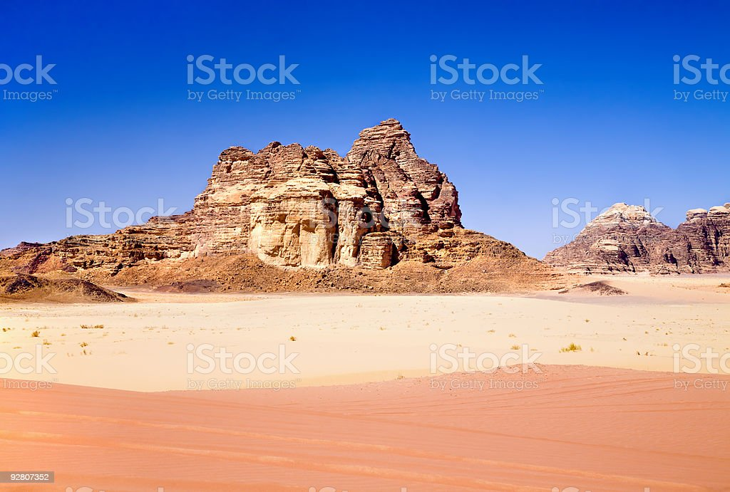 Red and yellow sands in Wadi Rum desert, Jordan royalty-free stock photo