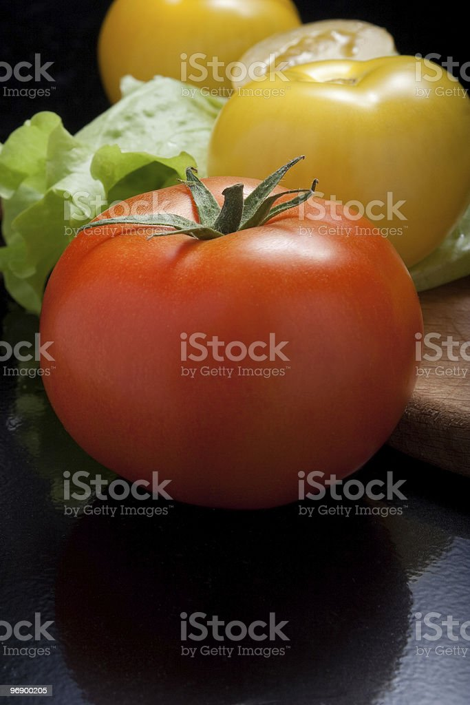 red and yellow tomatoes royalty-free stock photo