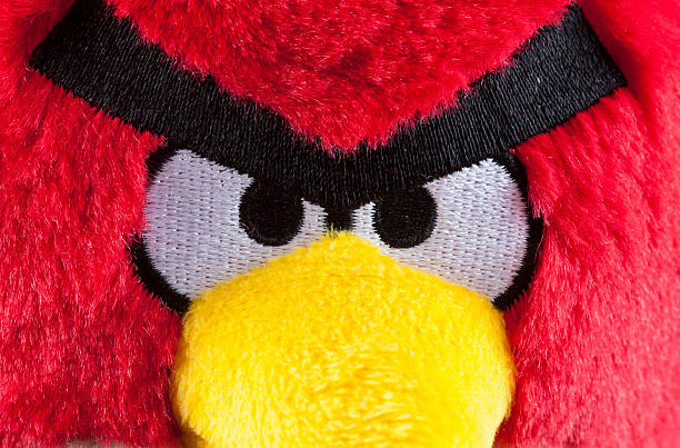 Red Angry Birds soft toy stock photo