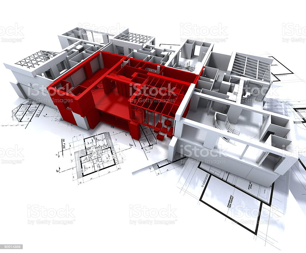 Red apartment mockup on blueprints stock photo
