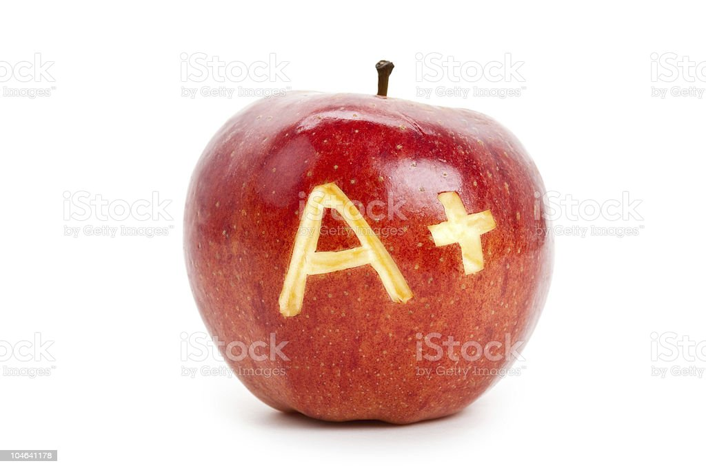 Red apple and A Plus sign stock photo