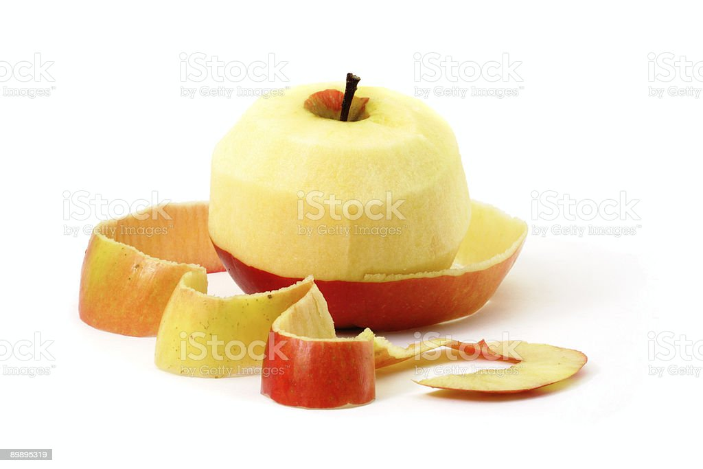Red apple and peel stock photo