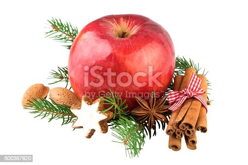 istock Red Apple Christmas Decoration 500367620