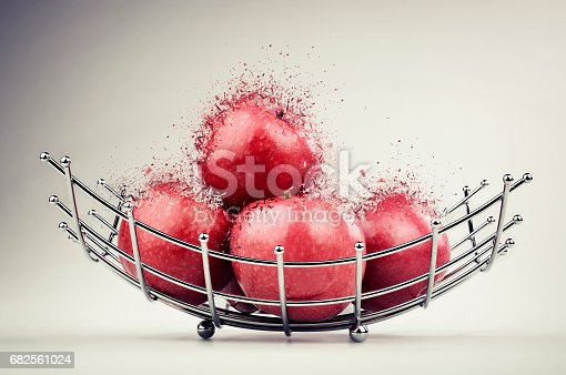istock Red apple exploded 682561024
