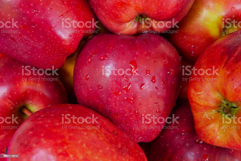Red apple fruit freshness close-up stock photo