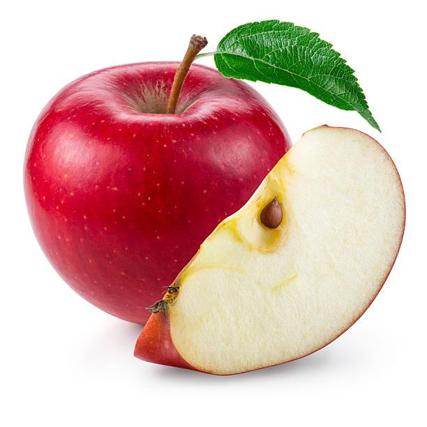 レッドアップルます。カットフルーツを白で分離。 ストックフォト
