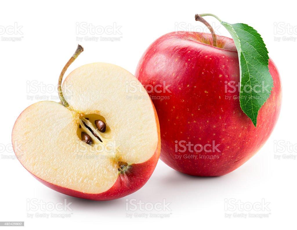 レッドアップルます。フルーツ、ハーフ白で分離。 ストックフォト