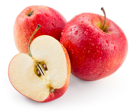 Red apple. Fruit with drops isolated. With clipping path