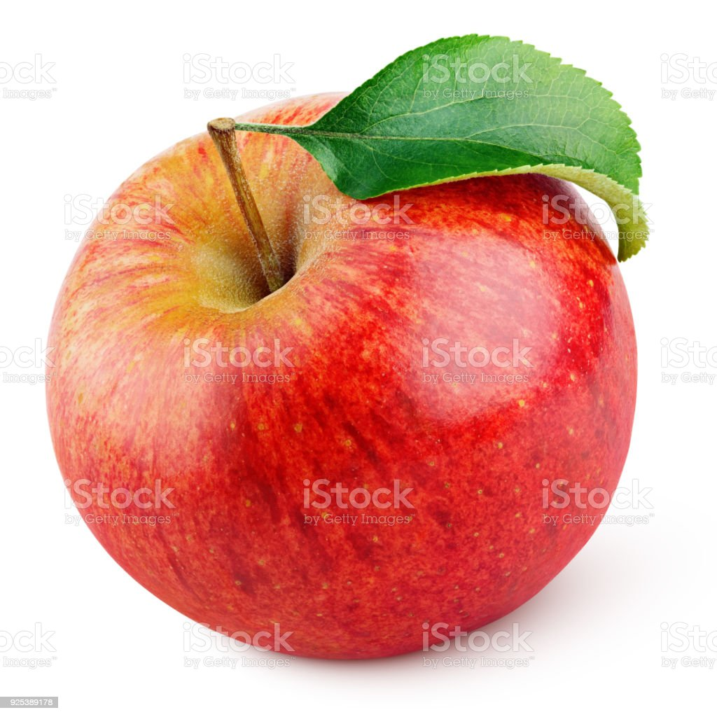 Red apple fruit with green leaf isolated on white stock photo