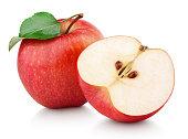 半分と緑赤リンゴ果実葉に分離ホワイト