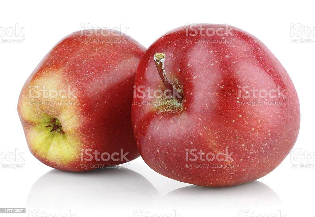 Red apple fruits isolated on white royalty-free stock photo