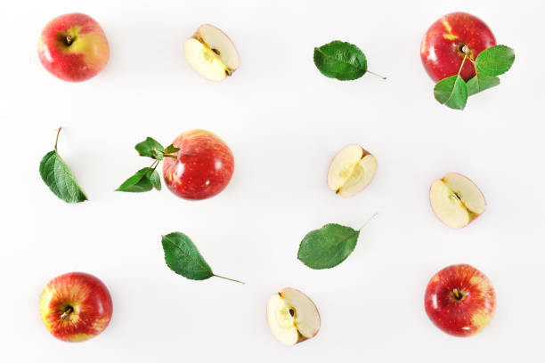 Red apple fruits on white background. stock photo