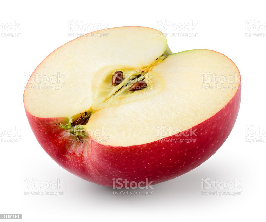 Red apple. Half isolated on white. With clipping path. stock photo
