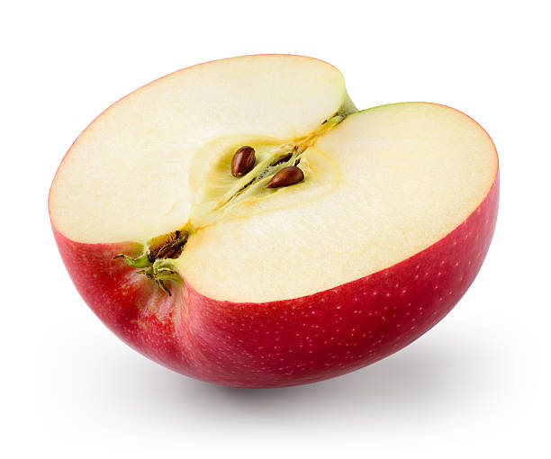 Red apple. Half isolated on white. With clipping path. ストックフォト