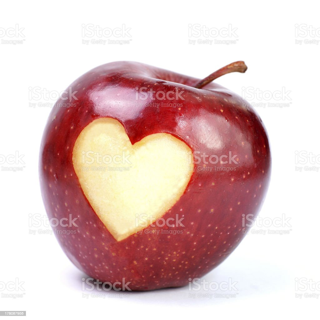 Red apple, heart stock photo