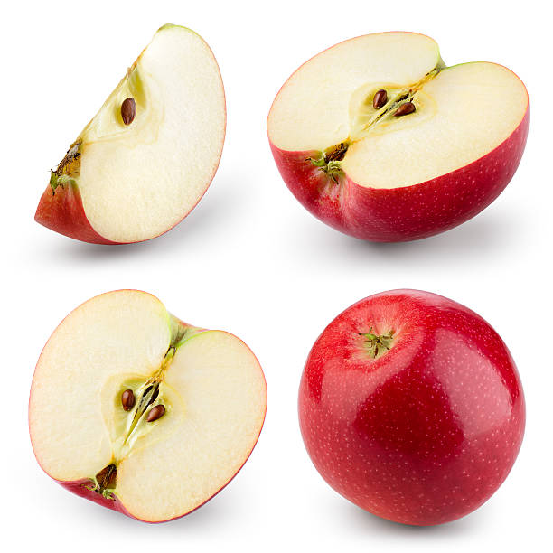 Red apple isolated on white. Collection. With clipping path bildbanksfoto