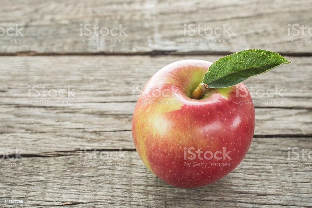 Red apple of the variety Braeburn stock photo