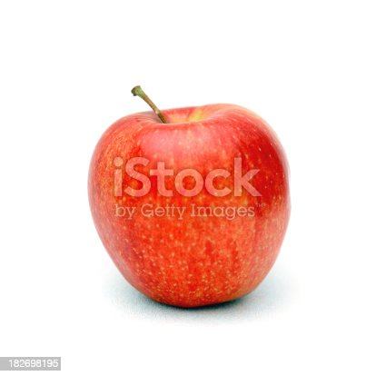 Closeup of a red-Gala apple isolated on a white background.