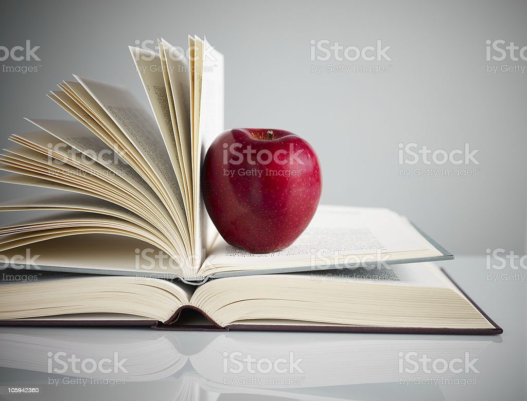 red apple on books royalty-free stock photo