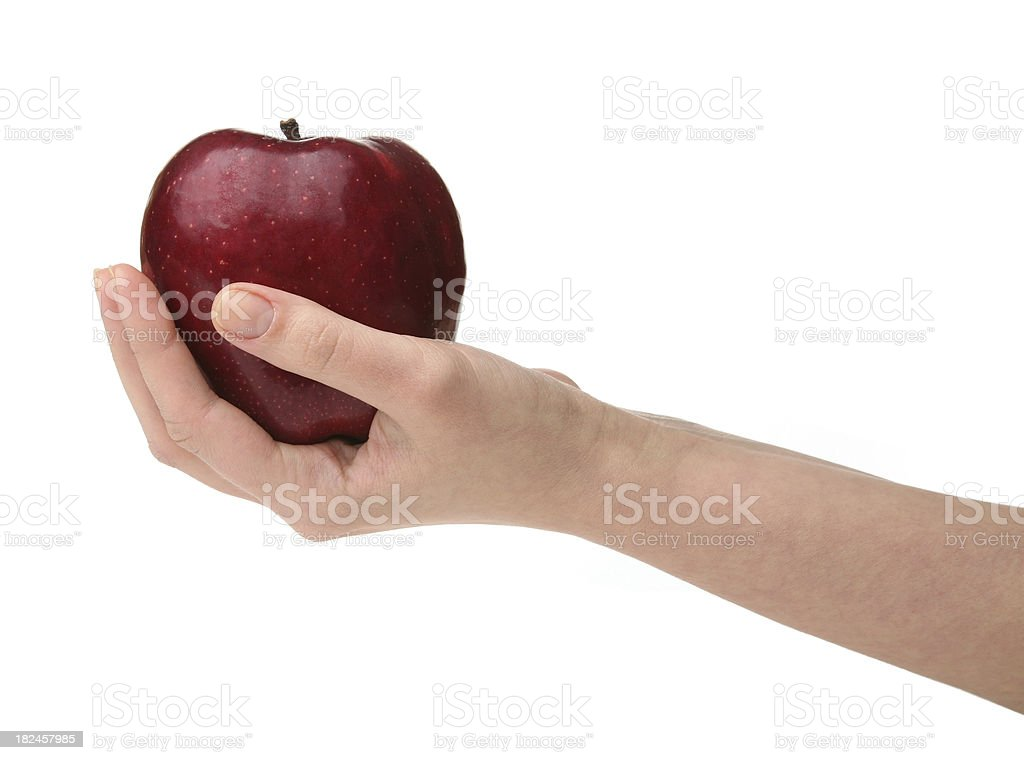Red apple on hand royalty-free stock photo