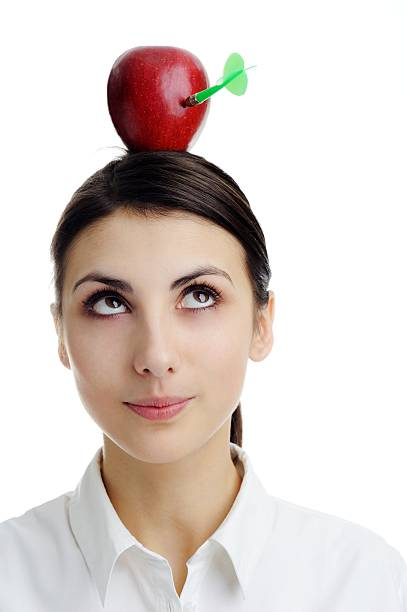 Red apple on head. stock photo