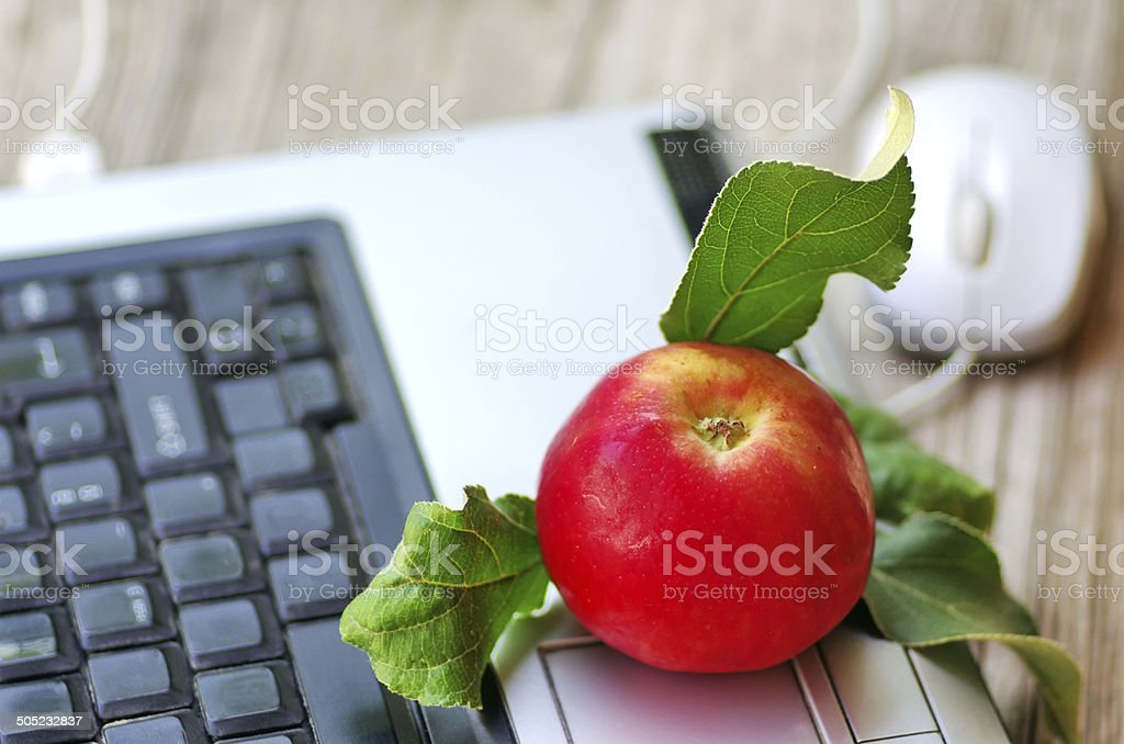 Red apple on keyboard  and mouse on table stock photo