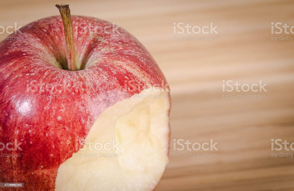 Red apple on table stock photo